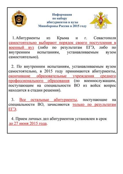 Информация по набору абитуриентов в ВВУЗы в 2015 году