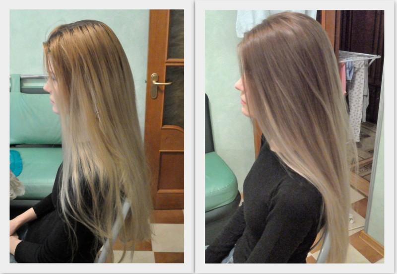 мелирование балаяж фото до и после