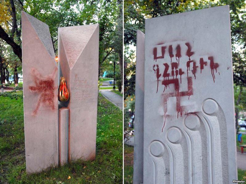 осквернен мемориал жертвам холокоста в ереване