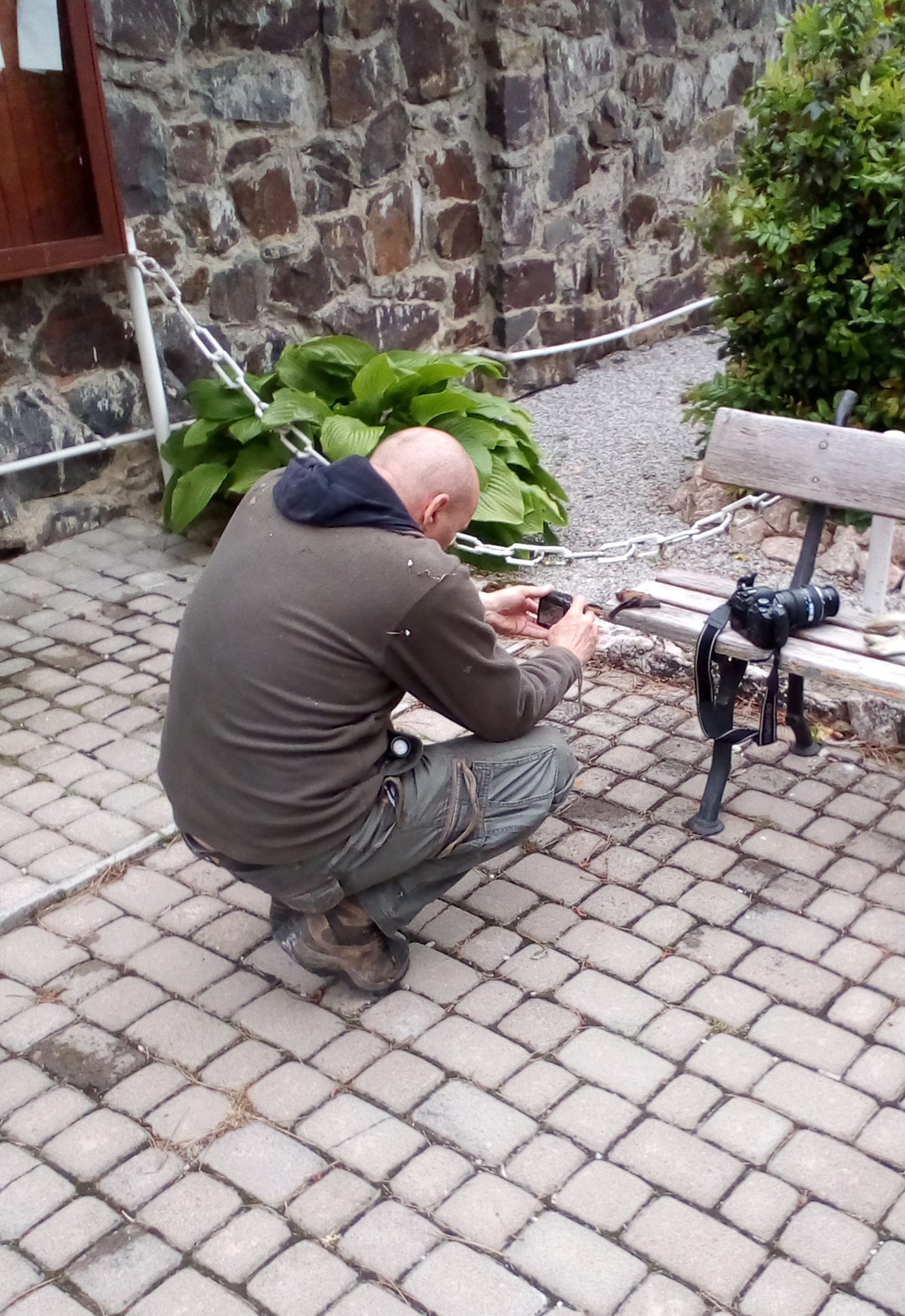 Фото 9. Андрій Башта здійснює польове дослідження кажана, знайденого біля римо-католицького храму в с. Сторожниця