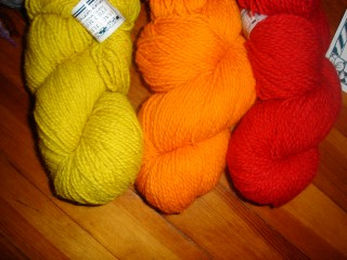 Khrushchev Corn, Firebird Orange, Ukrainian Red (soon to be tobpggan hat & maybe mittens