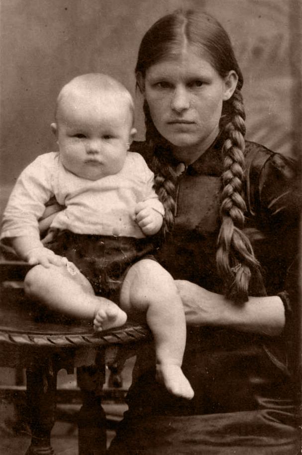 с сыном после войны