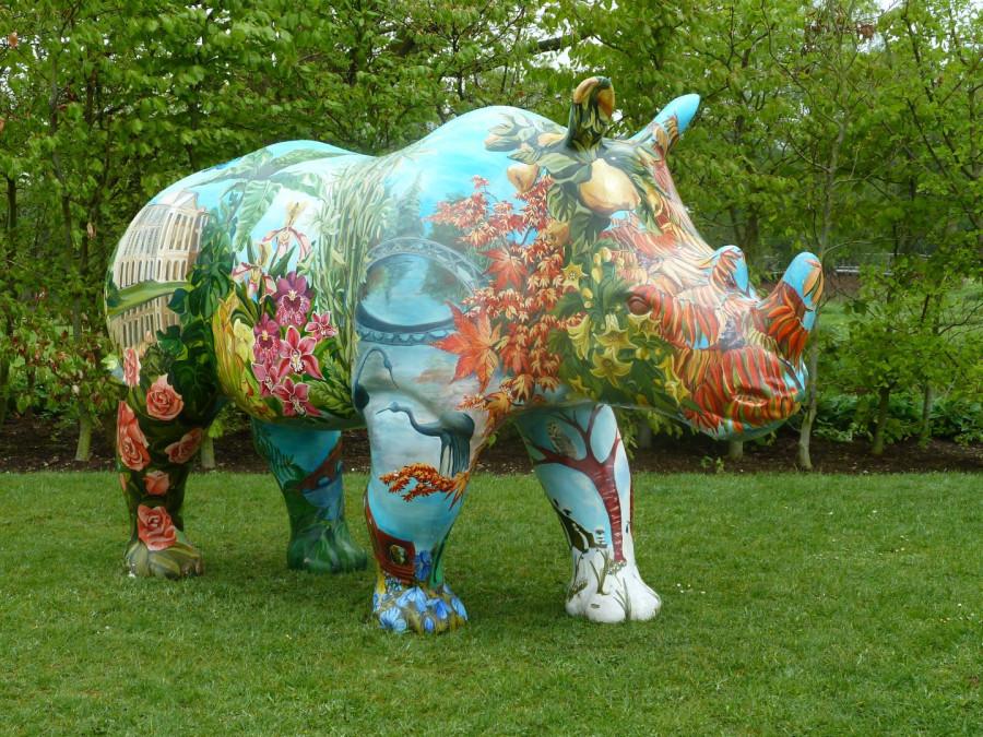 Painted rhino at Trentham Gardens