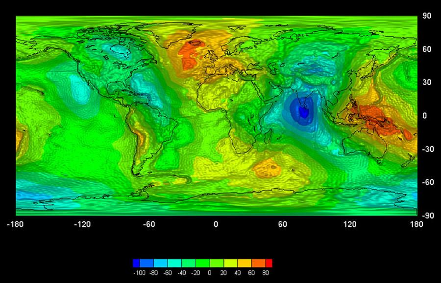 10 гравитационная карта Земли