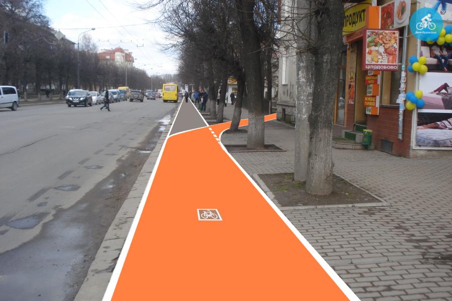 Іванофранківцям показали як можуть виглядати велодоріжки на Галицькій (фото) - фото 79