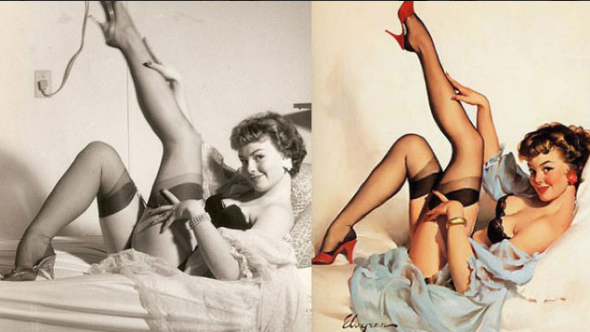 these-pictures-show-american-artist-gil-elvgrens-paintings-of-1950s-pin-ups-compared-to-original-photographs-of-the-models-who-served-as-reference-sources