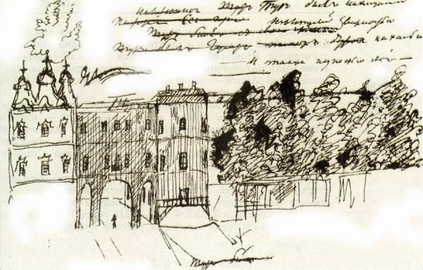 Рисунок А. С. Пушкина на рукописи романа Евгений Онегин