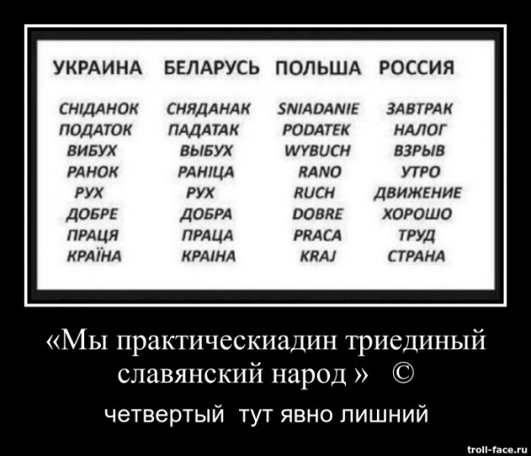 мы практическиадин триединый славянский народ четыертый тут явно лишний