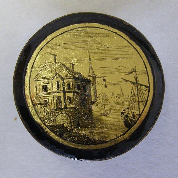 Пуговица. Металл, стекло. Европа, конец 18 столетия.