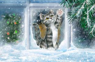 стихи о зиме о снеге кошка у окна