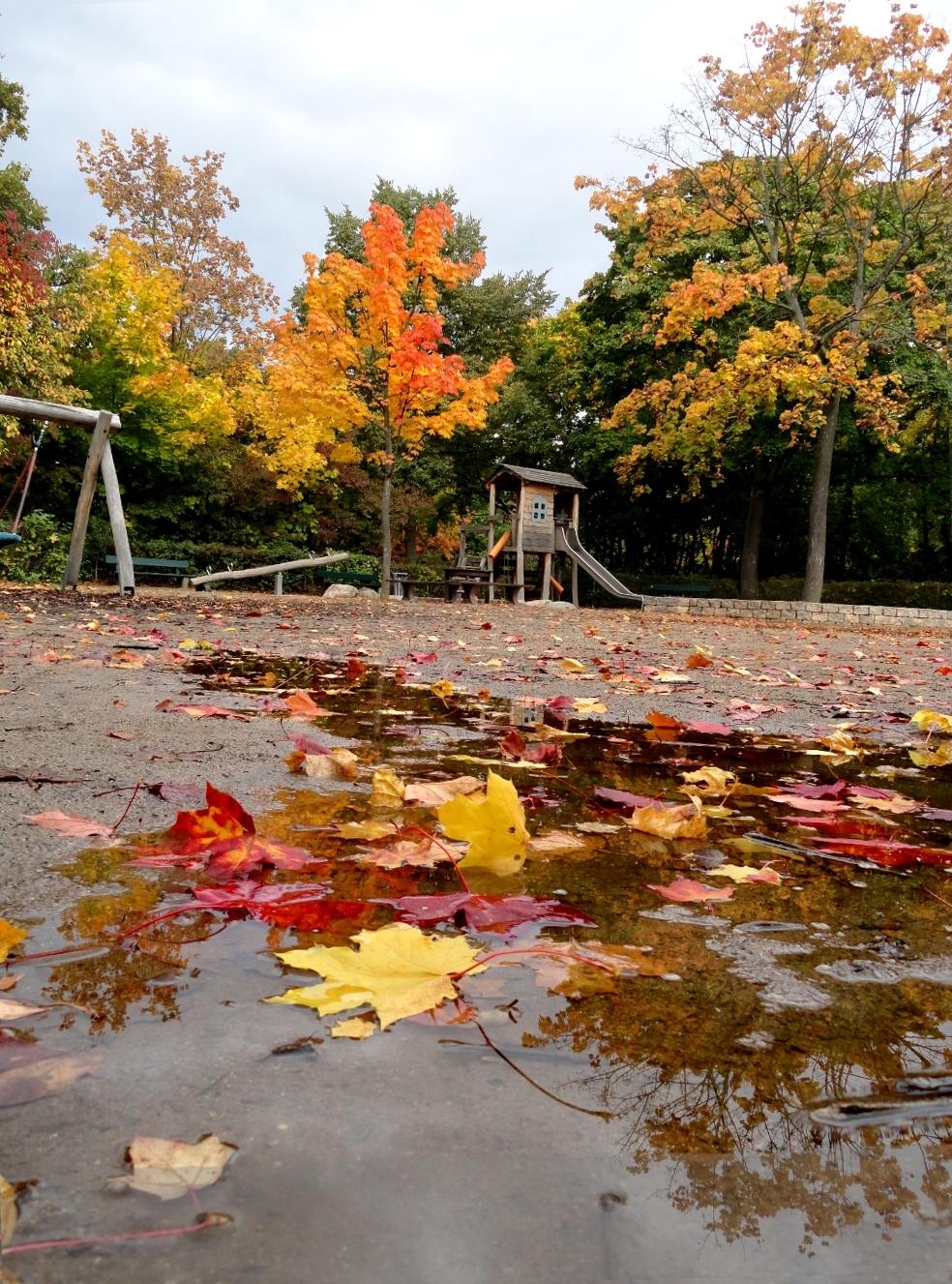 детская площадка лужи осень