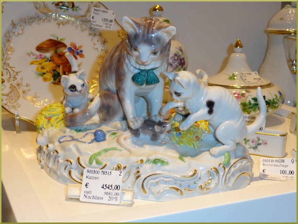 Мейсенский фарфор кошка с котятами.
