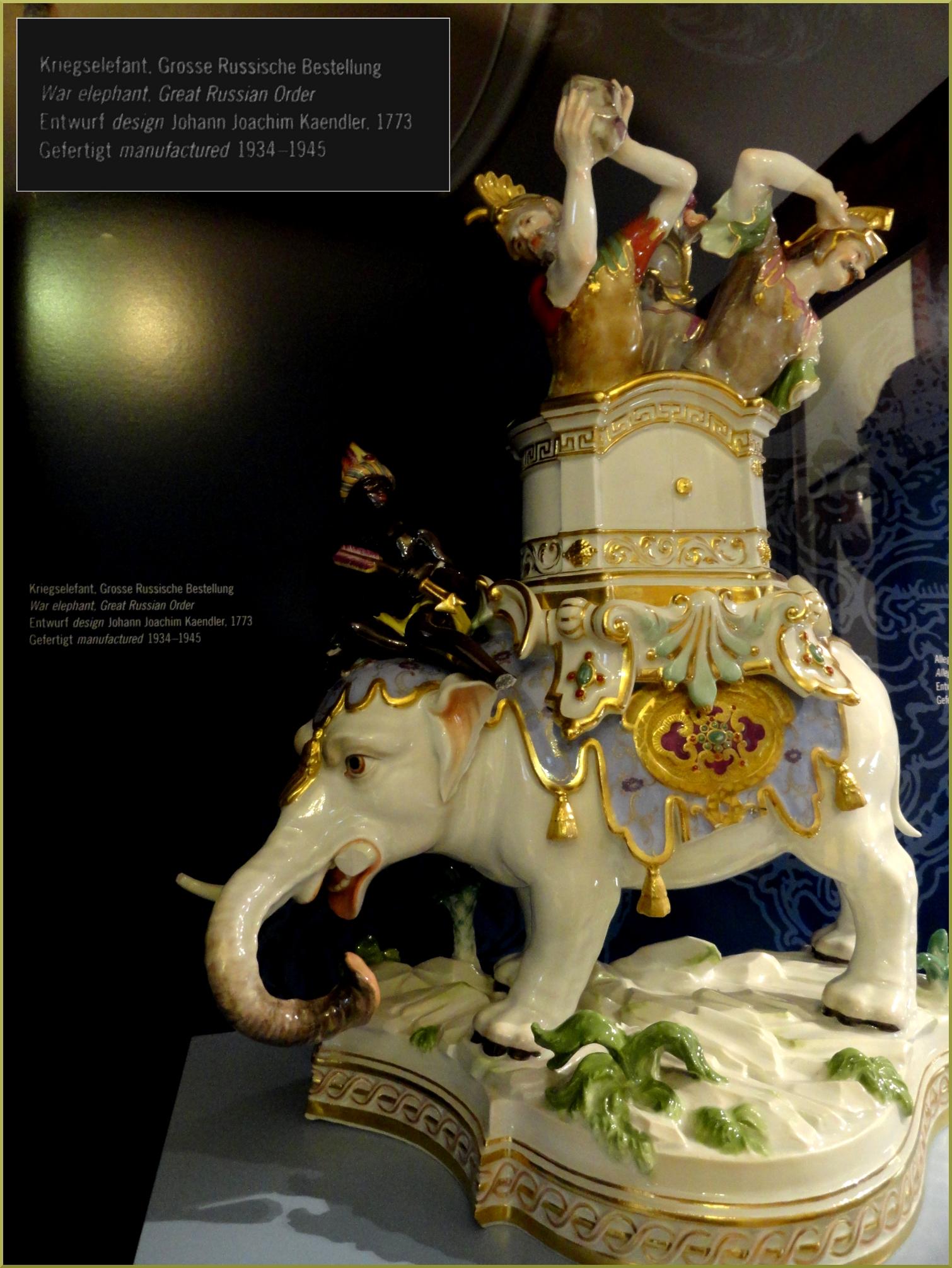 Мейсен Фарфор Боевой слон. Музей.