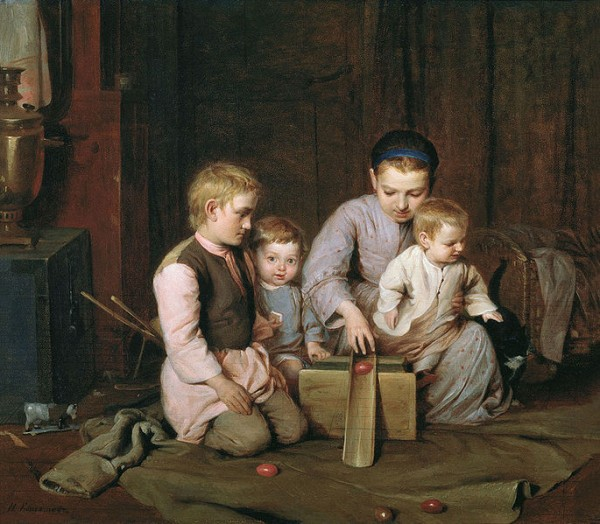 Nikolai Andrejewitsch Koschelew Дети,_катающие_пасхальные_яйца