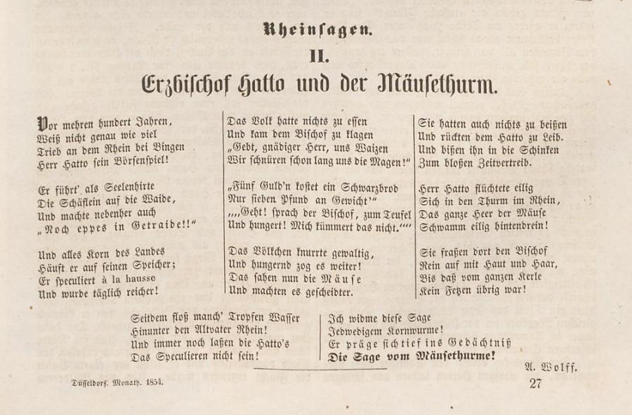Der Mäusethurm Die Sage des Mäuseturms in Bingen. Erzbischof Hatto