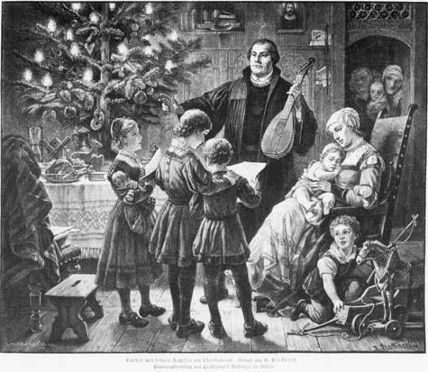 Luther (1483-1546) mit seiner Familie am Christabend. Gemalt von B. B. Plockhorst. 1888.