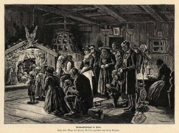 Weihnachtskrippe in Tirol Skizze von Franz Menter  1893