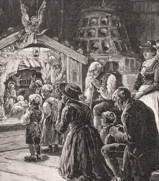 Weihnachtskrippe in Tirol Skizze von Franz Menter K&K