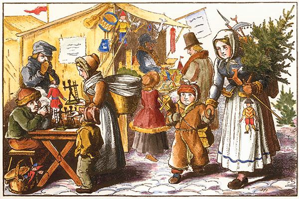 Der Striezelmarkt in Dresden (1851).