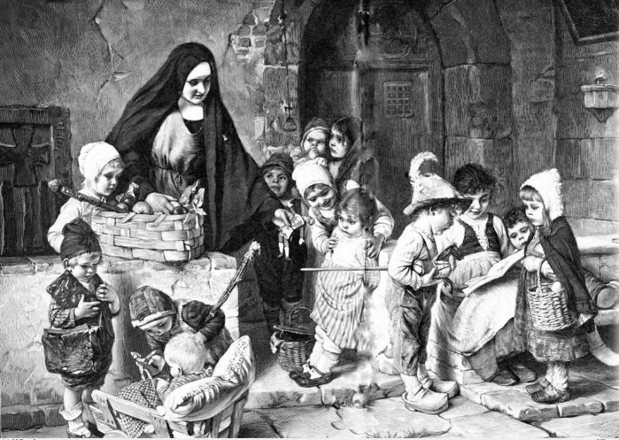 Friedrich August von Kaulbach.Schwester Mathilde und  Kinder 1897.