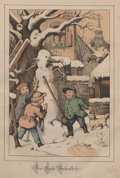"""""""Der Riese Goliath"""" – Gustav Süs, Illustration zu Franz Wiedemann: Geschichten, wie sie Kinder gern haben (Dresden 1860)"""