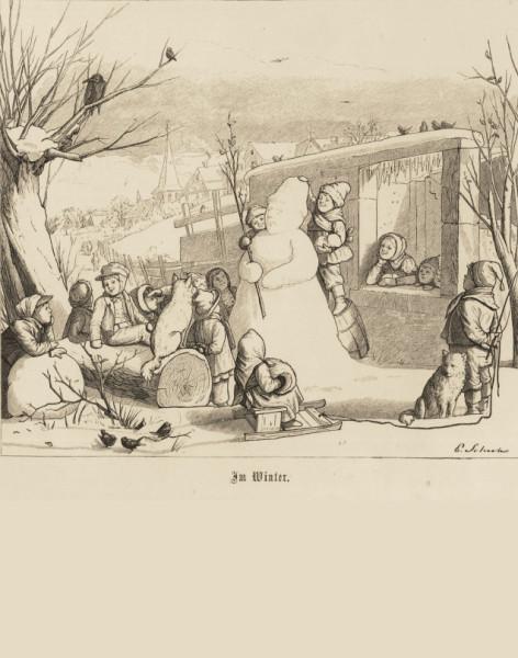 """Schneemannbau (Illustration """"Im Winter"""" in einem Kinderbuch von 1867)"""