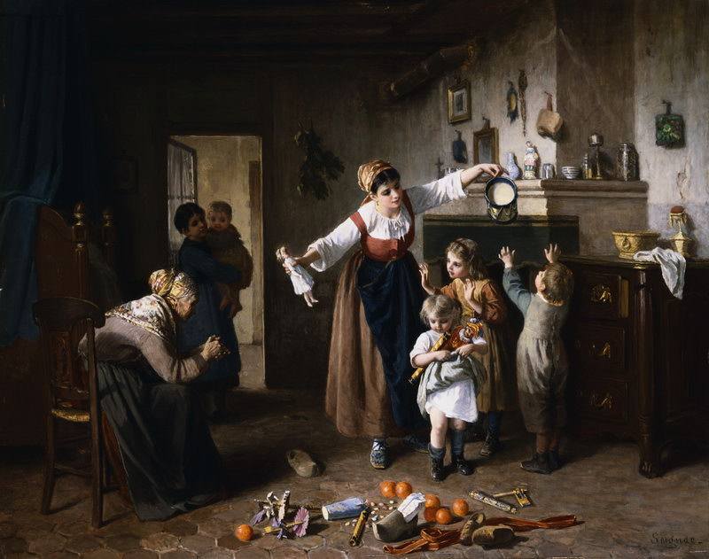 Paul Seignac  (French, 1826-1904) «Christmas Morning»