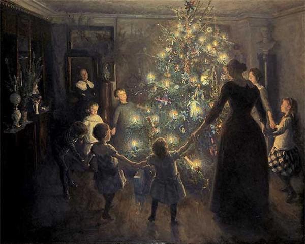 Frohe Weihnachten, Gemälde von Viggo Johansen