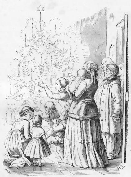 weihnachtsbaum-Zeichnung Ludwig Richter, Mitte 19. Jahrhundert