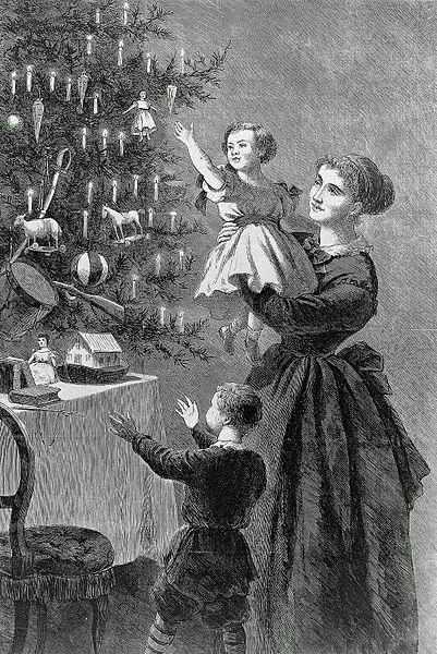 ChristmasTree_Illustration for Harper's Bazaar, published 1 January 1870.