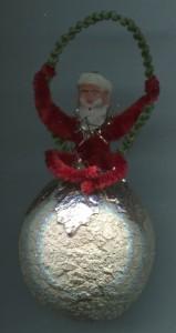 Alter Weihnachtsschmuck Watte Pappe Kugel