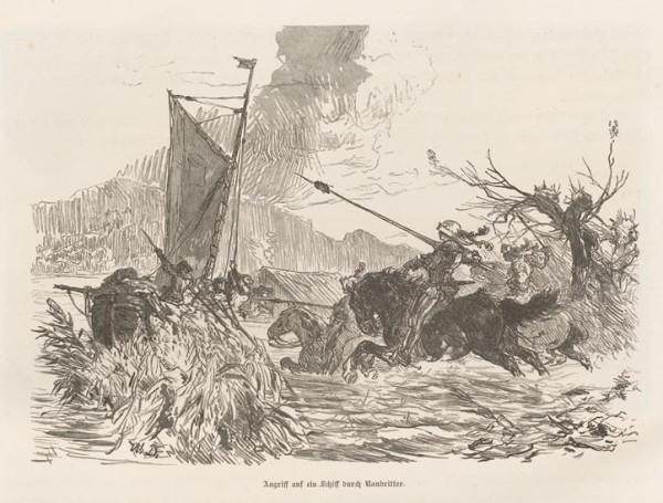 Illustration Angriff auf ein Schiff durch Raubritter. von W. Diez_Rheinfahrt 1885