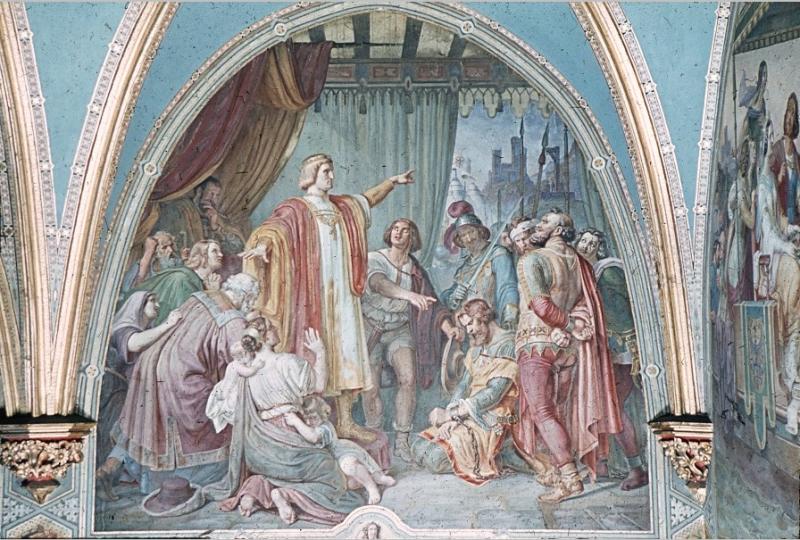 Wandmalerei: Gerechtigkeit Rudolf von Habsburg, Gericht haltend über Raubritter