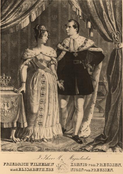 Friedrich Wilhelm IV. und Elisabeth in hermelinbesetzten Krönungsmänteln, um 1840