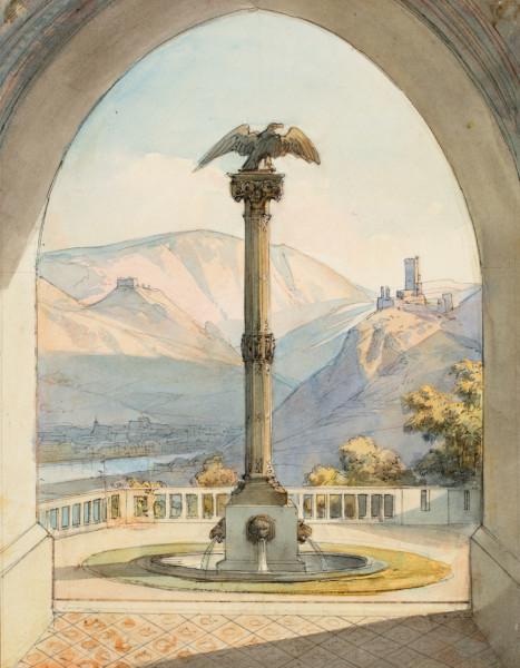 Caspar Scheuren (1810-1887): Die Adlersäule auf der Rheinterrasse in Stolzenfels