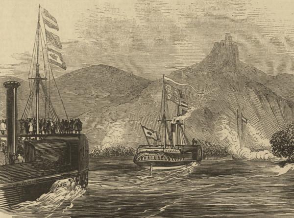 Vorbeifahrt der königlichen Yacht am Drachenfels, aus: The illustrated London News.