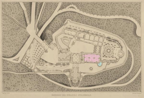 Plan des Schlosses  Stolzenfels 1844.