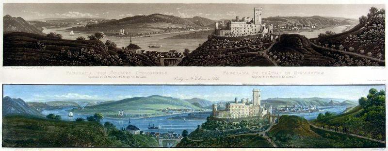 Panorama von Schloss Stolzenfels um 1845