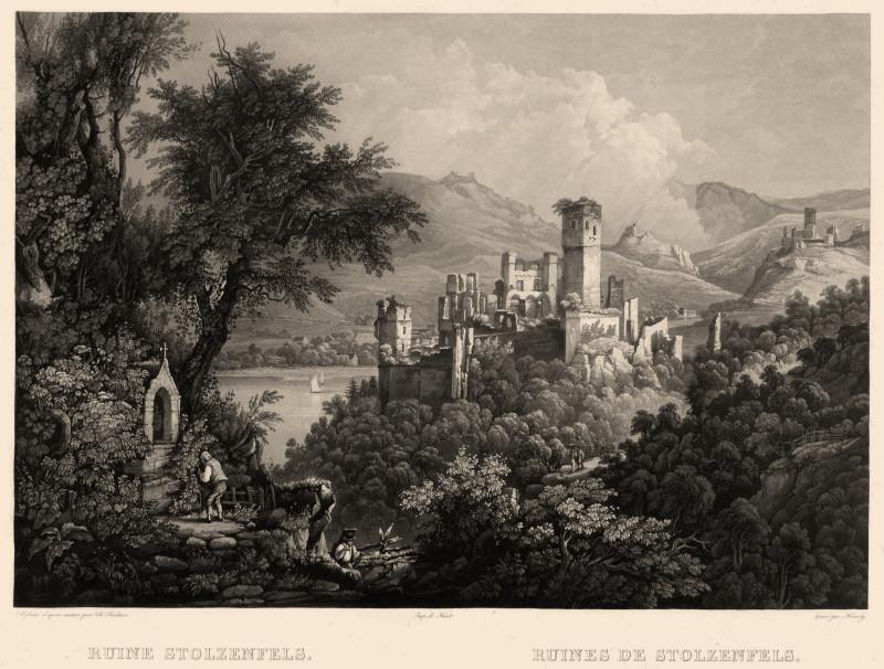 Ruine Stolzenfels mit Blick auf Lahnstein; im Vgr. links Kapelle1830