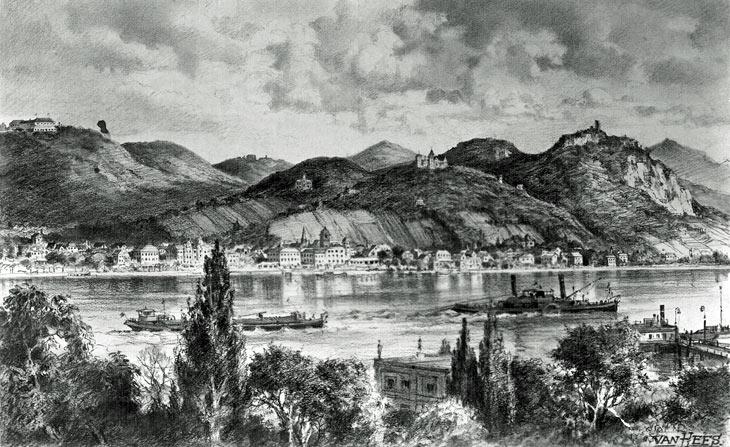Siebengebirge von der anderen Rheinseite aus 1952