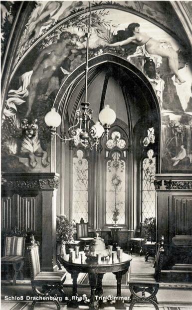 Das prunkvoll ausgemalte Trinkzimmer auf Schloss Drachenburg 1910