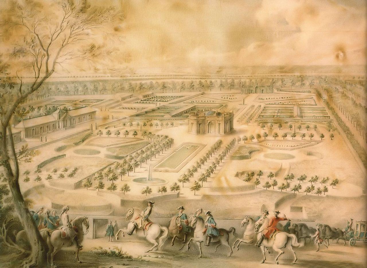Louis XV en vue des jardins de Trianon, vers 1750