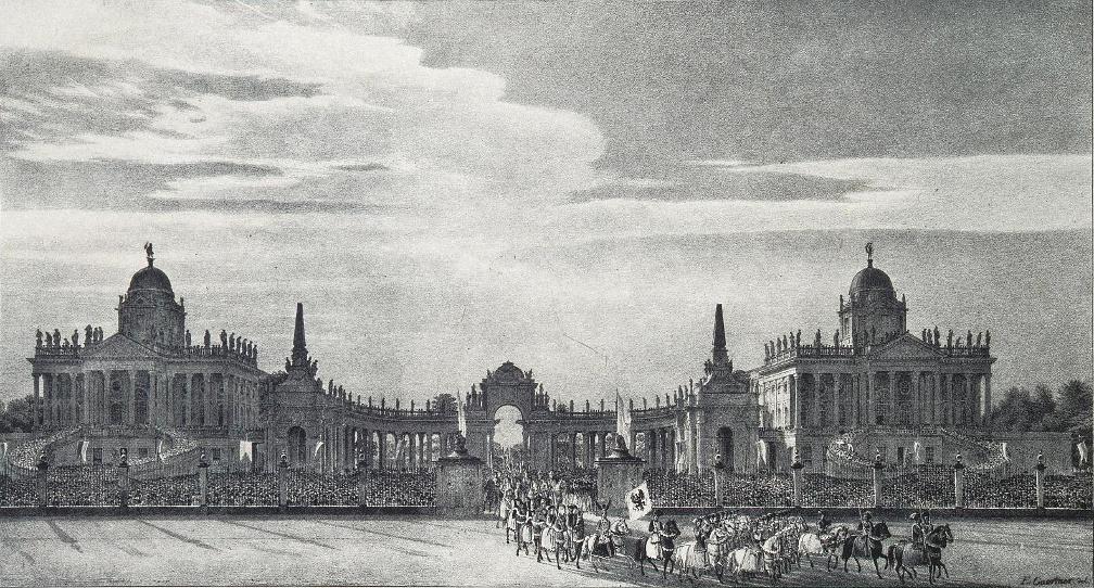 Einzug der Quadrillen am 13.Juli 1829 durch die Communs in Potsdam