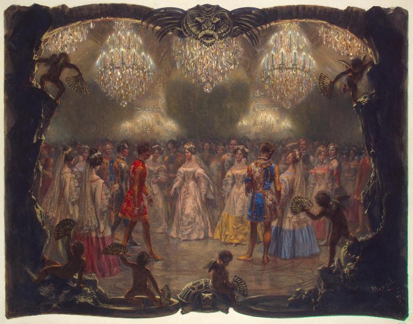 Ball in mittelalterlichenKostümen_Fest der Weißen Rose 1829