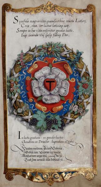 Luther-Rose auf Wappenschild umgeben von Ährenkranz