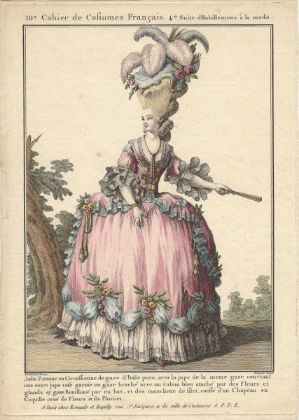 French woman in an alluring rose, 1770s
