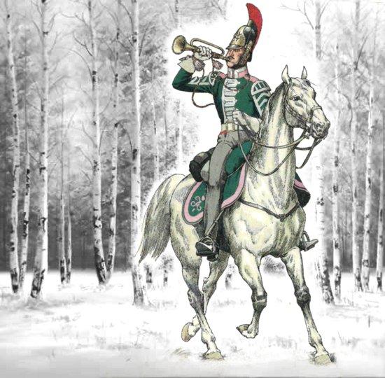 Штаб-трубач московского драгунского полка. Драгунская форма.