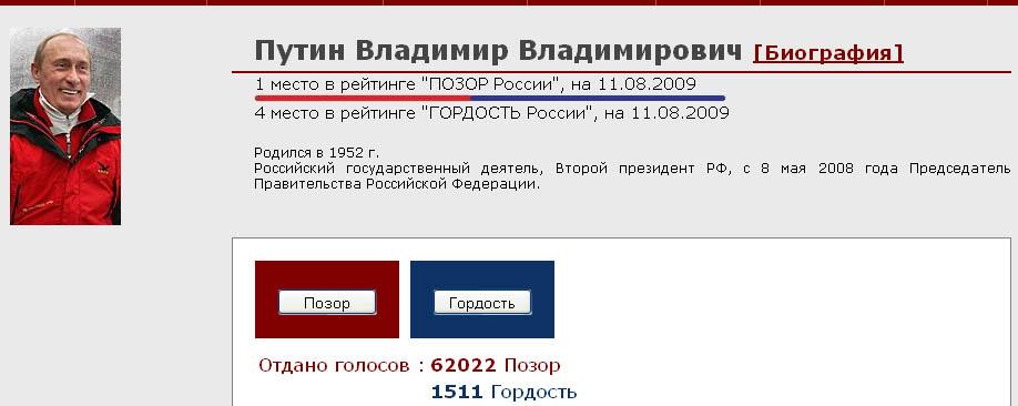 путин - позор России