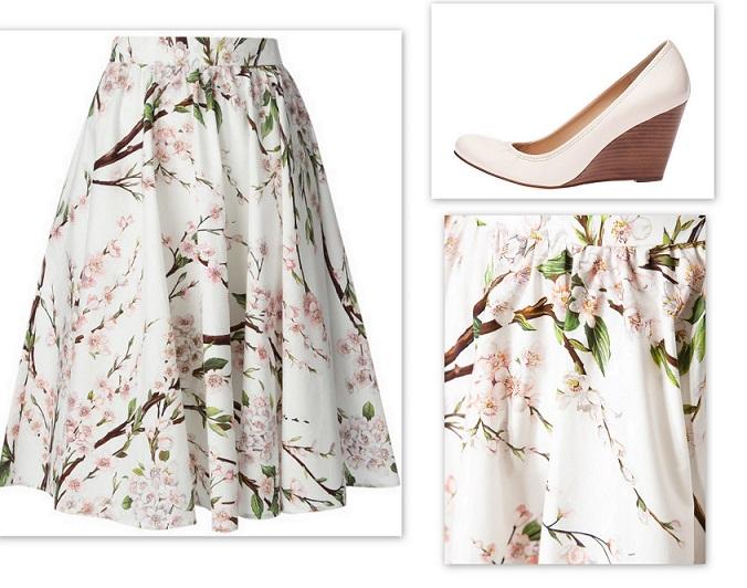 white shoe floral skirt