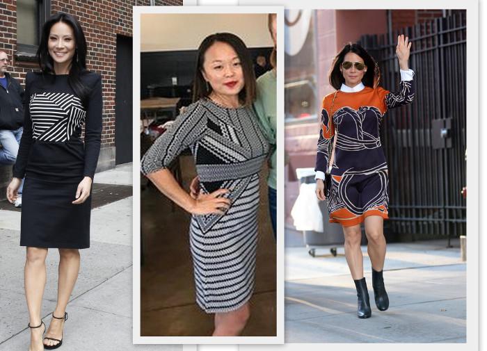 сочетать четкую геометрию с женственными изгибами помогает стратегическое расположение принта на одежде